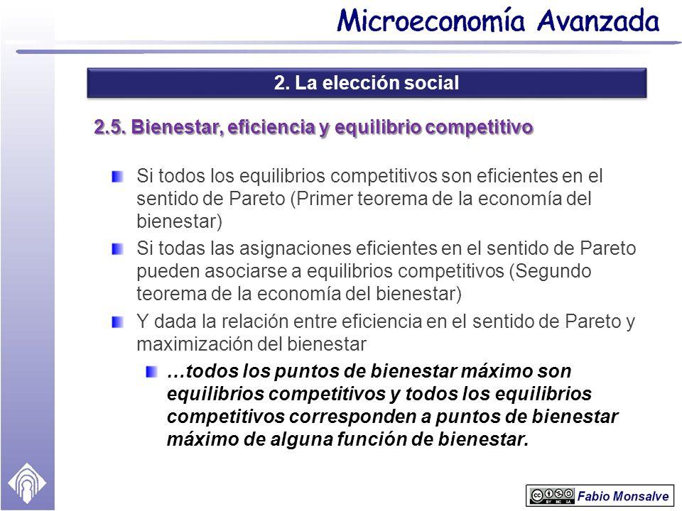 2. La elección social 2.5. Bienestar, eficiencia y equilibrio competitivo Si todos los equilibrios competitivos son eficientes en el sentido de Pareto