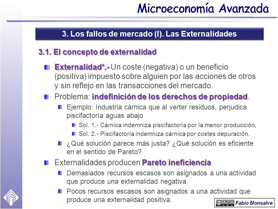 3. Los fallos de mercado (I). Las Externalidades 3.1. El concepto de externalidad Externalidad*.- Externalidad*.- Un coste (negativa) o un beneficio (