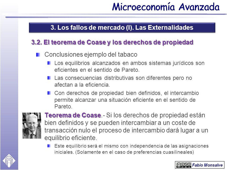 3. Los fallos de mercado (I). Las Externalidades 3.2. El teorema de Coase y los derechos de propiedad Conclusiones ejemplo del tabaco Los equilibrios