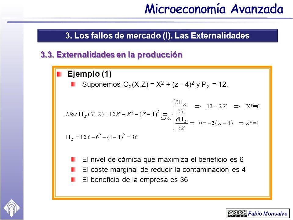3. Los fallos de mercado (I). Las Externalidades 3.3. Externalidades en la producción Ejemplo (1) Suponemos C X (X,Z) = X 2 + (z - 4) 2 y P X = 12. El