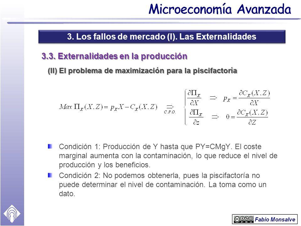 3. Los fallos de mercado (I). Las Externalidades 3.3. Externalidades en la producción (II) El problema de maximización para la piscifactoría Condición