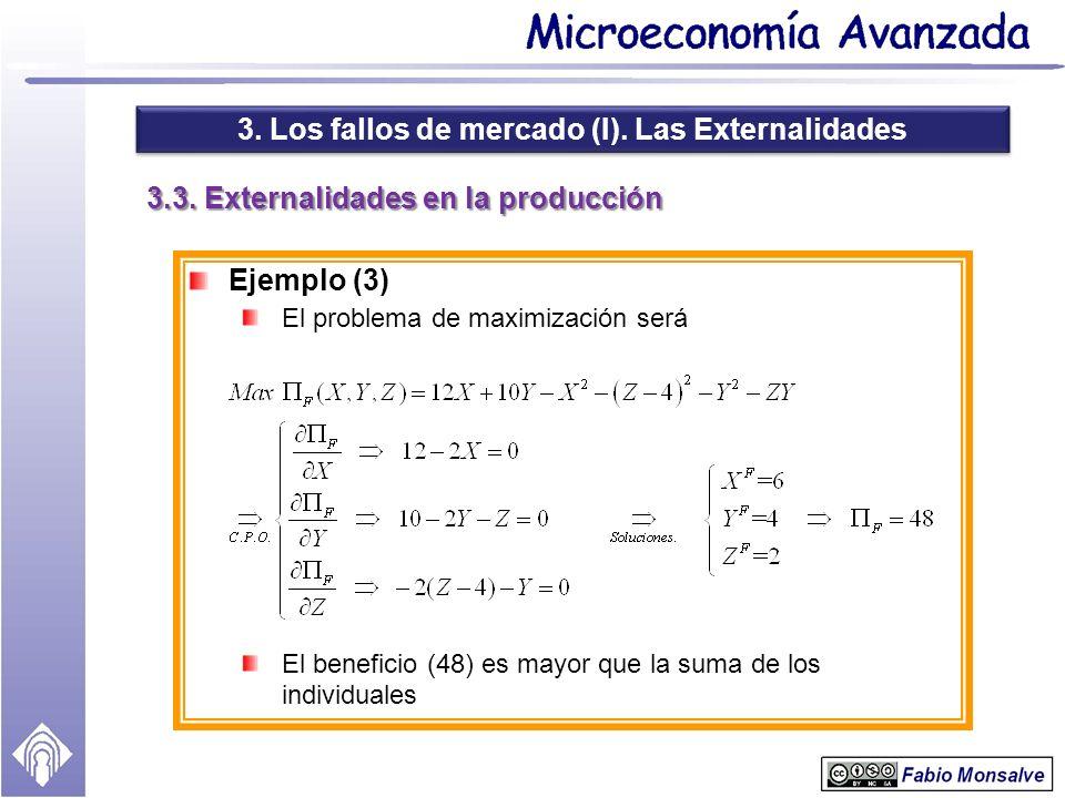 3. Los fallos de mercado (I). Las Externalidades 3.3. Externalidades en la producción Ejemplo (3) El problema de maximización será El beneficio (48) e