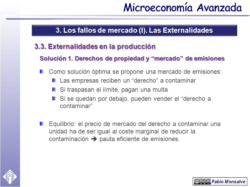 3. Los fallos de mercado (I). Las Externalidades 3.3. Externalidades en la producción Solución 1. Derechos de propiedad y mercado de emisiones Como so