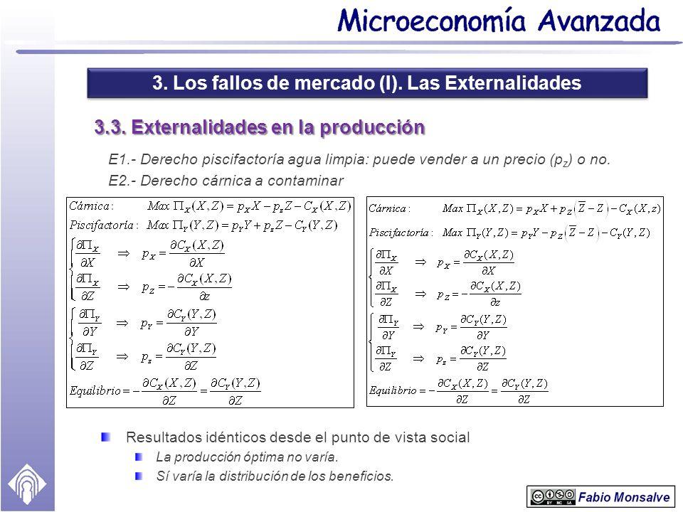 3. Los fallos de mercado (I). Las Externalidades 3.3. Externalidades en la producción E1.- Derecho piscifactoría agua limpia: puede vender a un precio