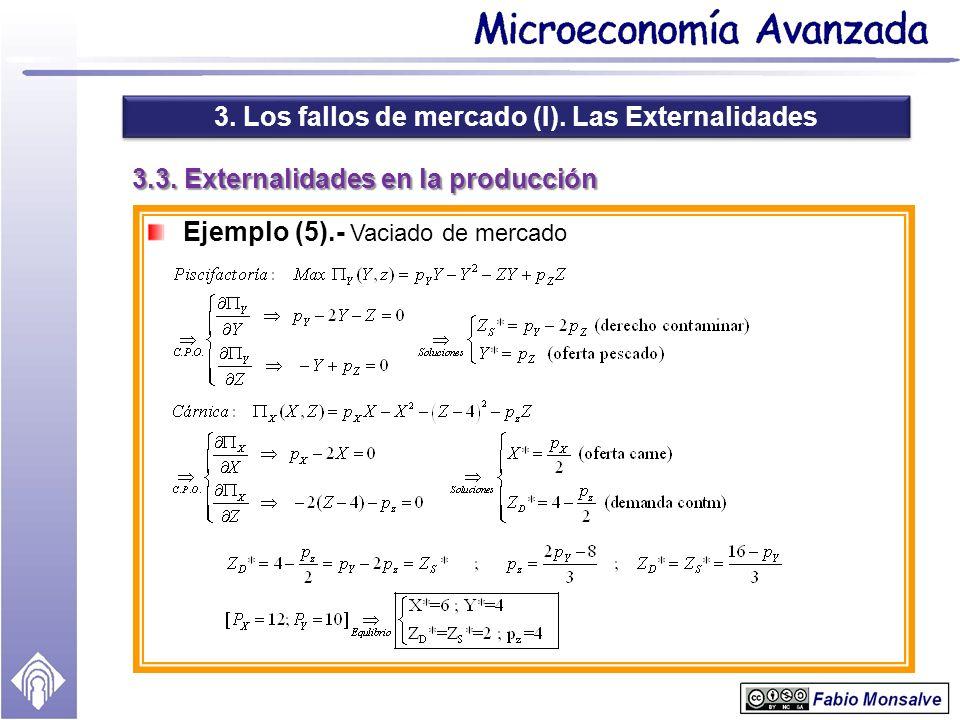 3. Los fallos de mercado (I). Las Externalidades 3.3. Externalidades en la producción Ejemplo (5).- Vaciado de mercado