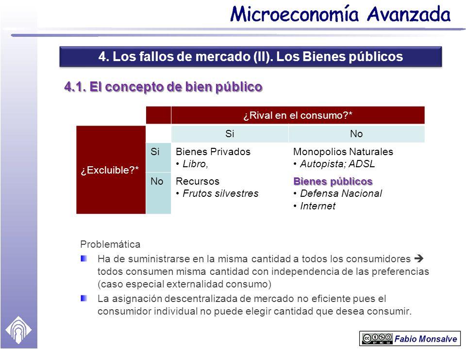 4. Los fallos de mercado (II). Los Bienes públicos 4.1. El concepto de bien público Problemática Ha de suministrarse en la misma cantidad a todos los