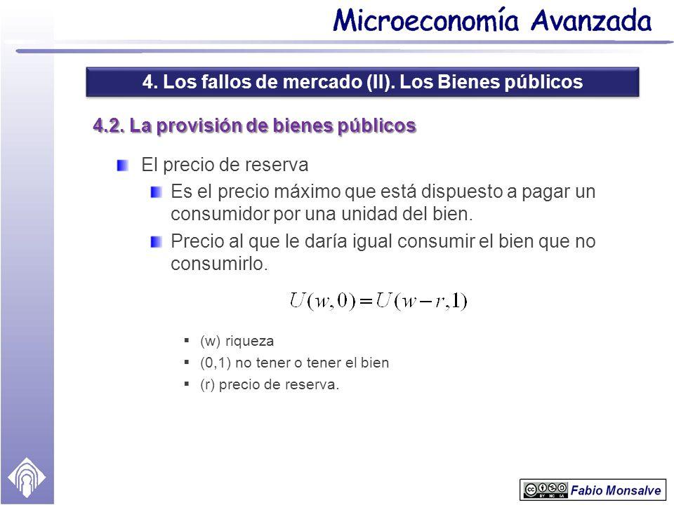 4. Los fallos de mercado (II). Los Bienes públicos 4.2. La provisión de bienes públicos El precio de reserva Es el precio máximo que está dispuesto a