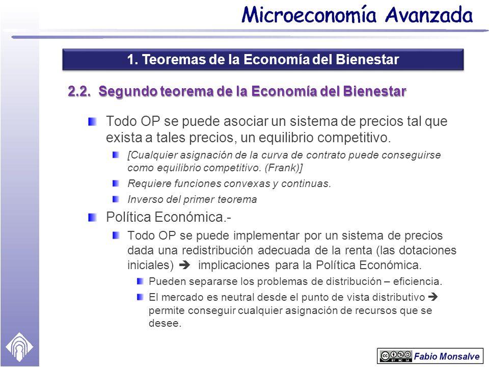 1. Teoremas de la Economía del Bienestar 2.2. Segundo teorema de la Economía del Bienestar Todo OP se puede asociar un sistema de precios tal que exis