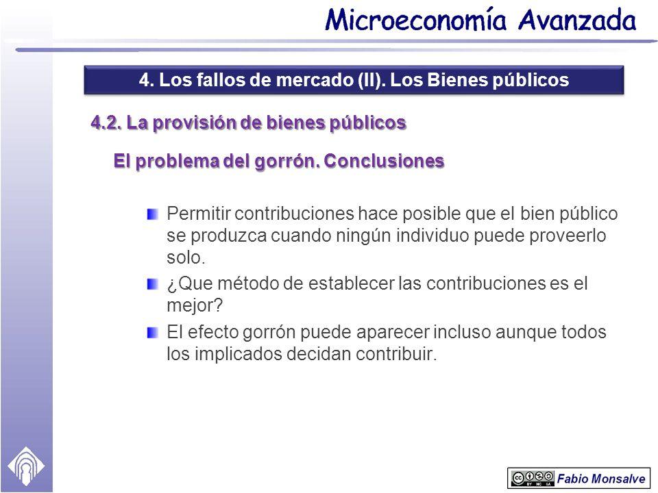4. Los fallos de mercado (II). Los Bienes públicos 4.2. La provisión de bienes públicos El problema del gorrón. Conclusiones Permitir contribuciones h