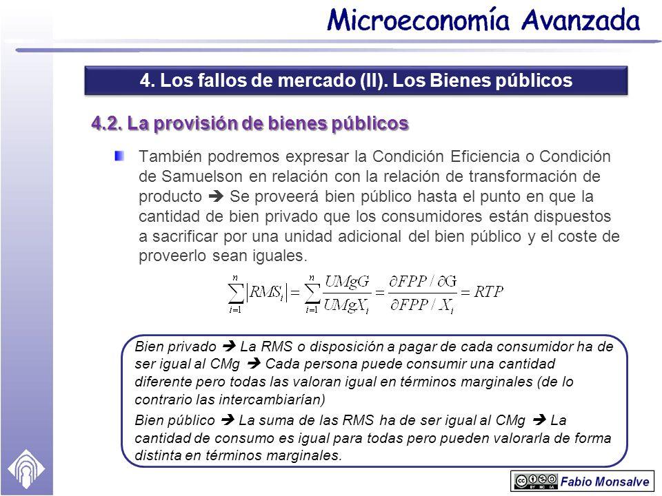 4. Los fallos de mercado (II). Los Bienes públicos 4.2. La provisión de bienes públicos También podremos expresar la Condición Eficiencia o Condición