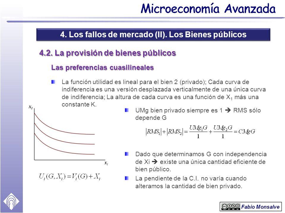 4. Los fallos de mercado (II). Los Bienes públicos 4.2. La provisión de bienes públicos Las preferencias cuasilineales La función utilidad es lineal p