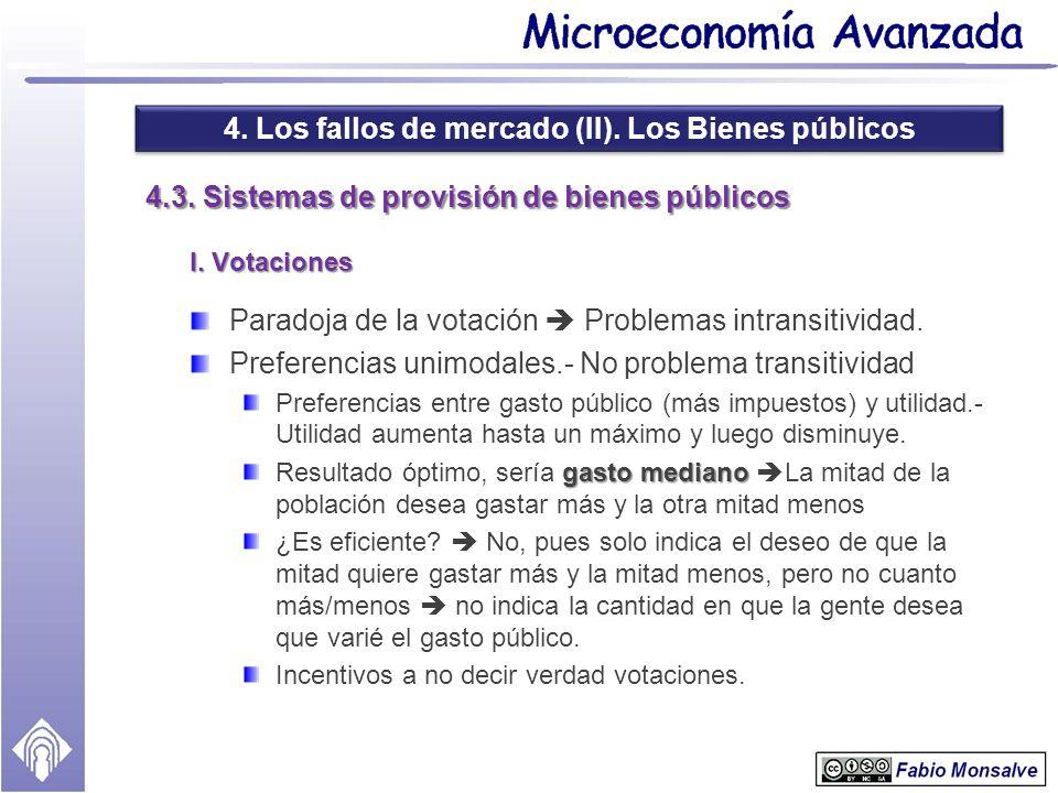 4. Los fallos de mercado (II). Los Bienes públicos 4.3. Sistemas de provisión de bienes públicos I. Votaciones Paradoja de la votación Problemas intra