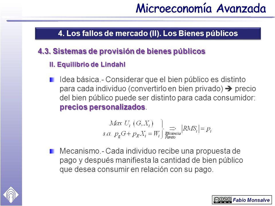 4. Los fallos de mercado (II). Los Bienes públicos 4.3. Sistemas de provisión de bienes públicos II. Equilibrio de Lindahl precios personalizados Idea