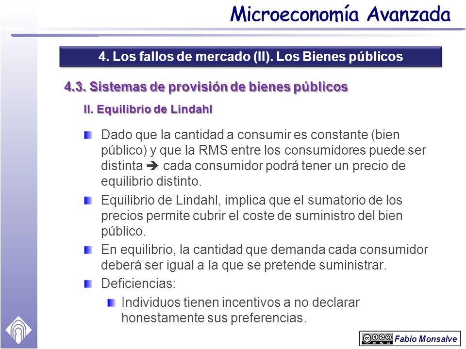 4. Los fallos de mercado (II). Los Bienes públicos 4.3. Sistemas de provisión de bienes públicos II. Equilibrio de Lindahl Dado que la cantidad a cons