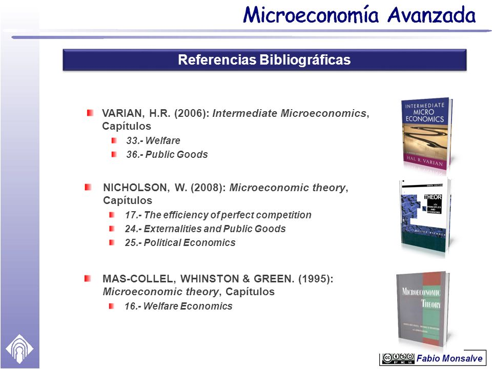 Referencias Bibliográficas NICHOLSON, W. (2008): Microeconomic theory, Capítulos 17.- The efficiency of perfect competition 24.- Externalities and Pub
