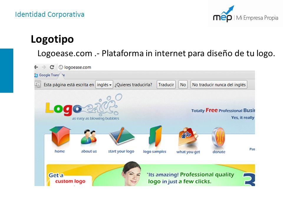 Identidad Corporativa Logotipo Logoease.com.- Plataforma in internet para diseño de tu logo.