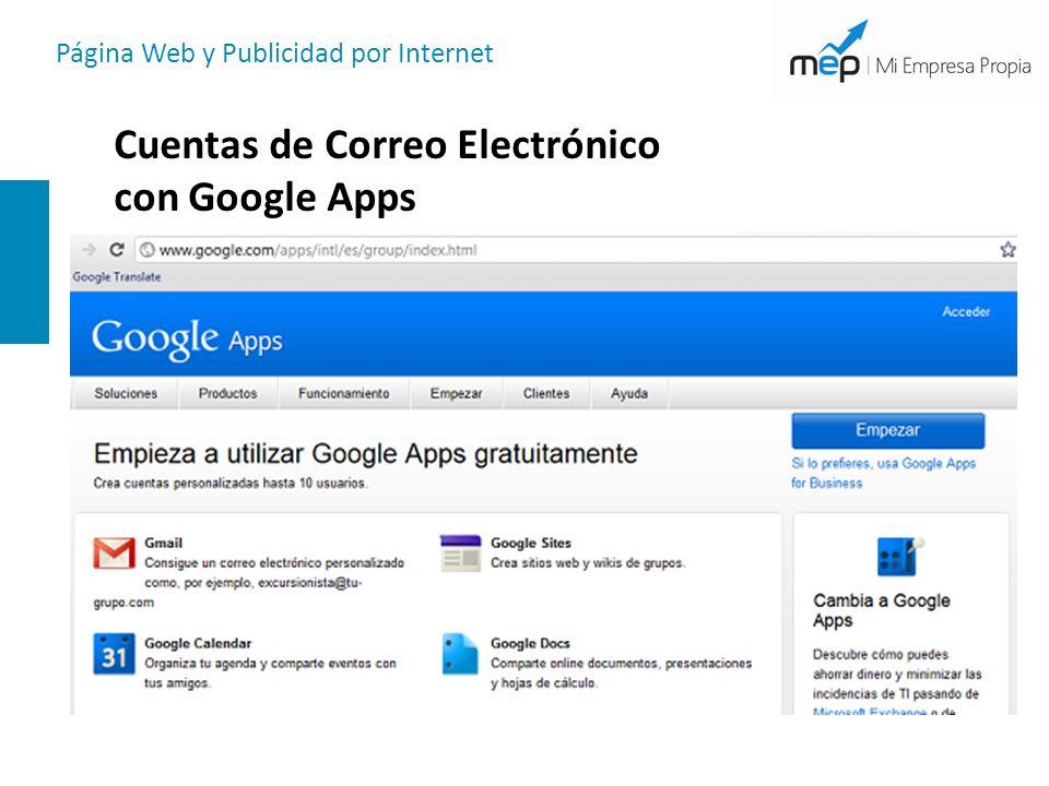 Página Web y Publicidad por Internet Cuentas de Correo Electrónico con Google Apps