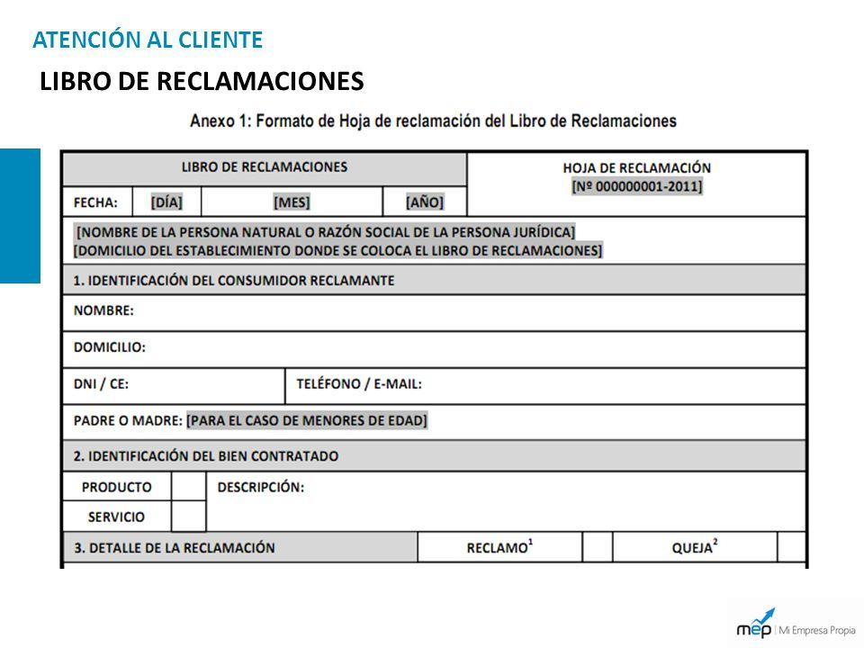 ATENCIÓN AL CLIENTE LIBRO DE RECLAMACIONES
