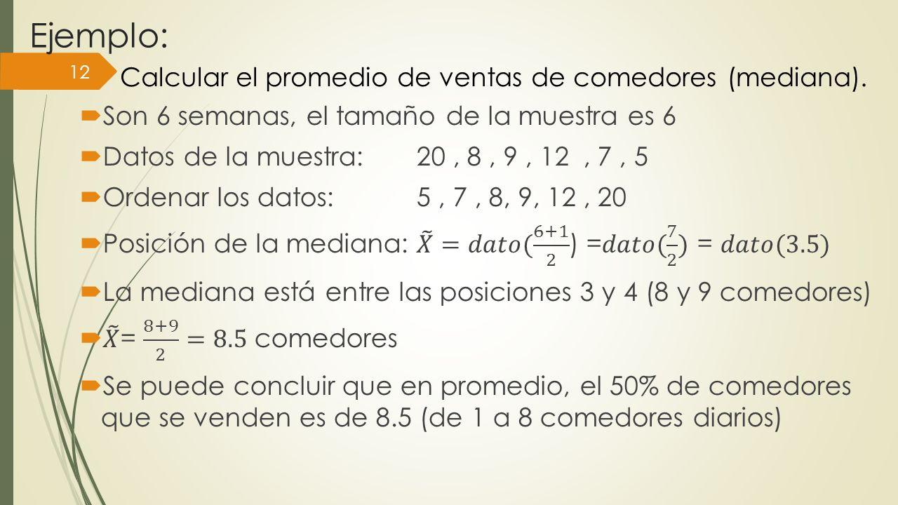 Ejemplo: 12 Calcular el promedio de ventas de comedores (mediana).