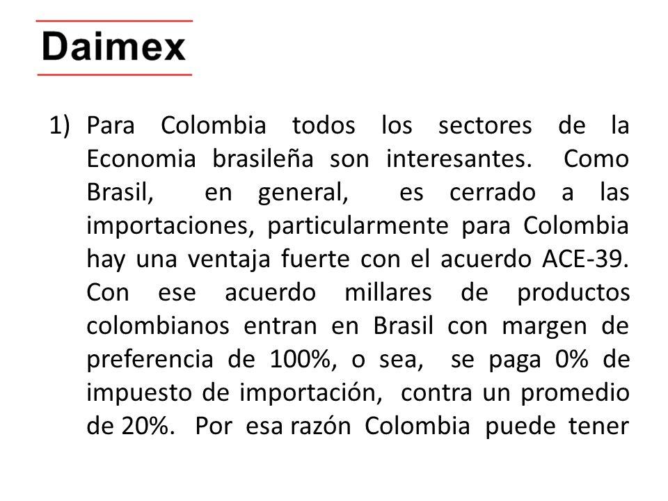 1)Para Colombia todos los sectores de la Economia brasileña son interesantes. Como Brasil, en general, es cerrado a las importaciones, particularmente