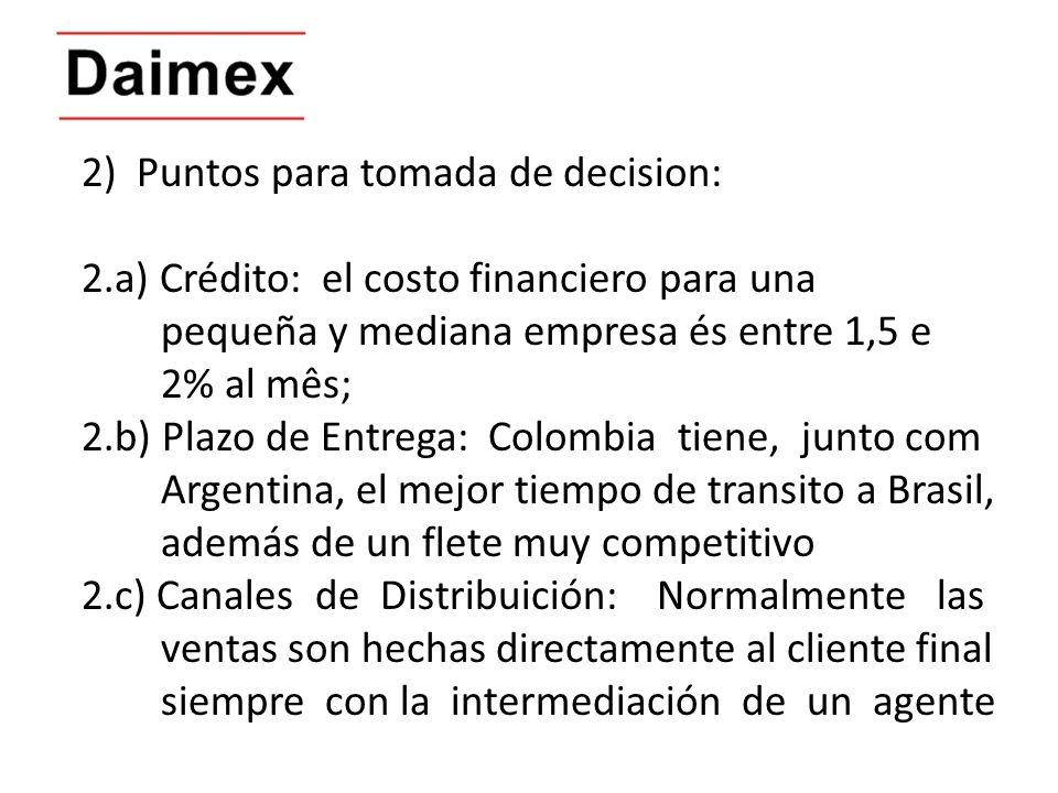 2) Puntos para tomada de decision: 2.a) Crédito: el costo financiero para una pequeña y mediana empresa és entre 1,5 e 2% al mês; 2.b) Plazo de Entreg