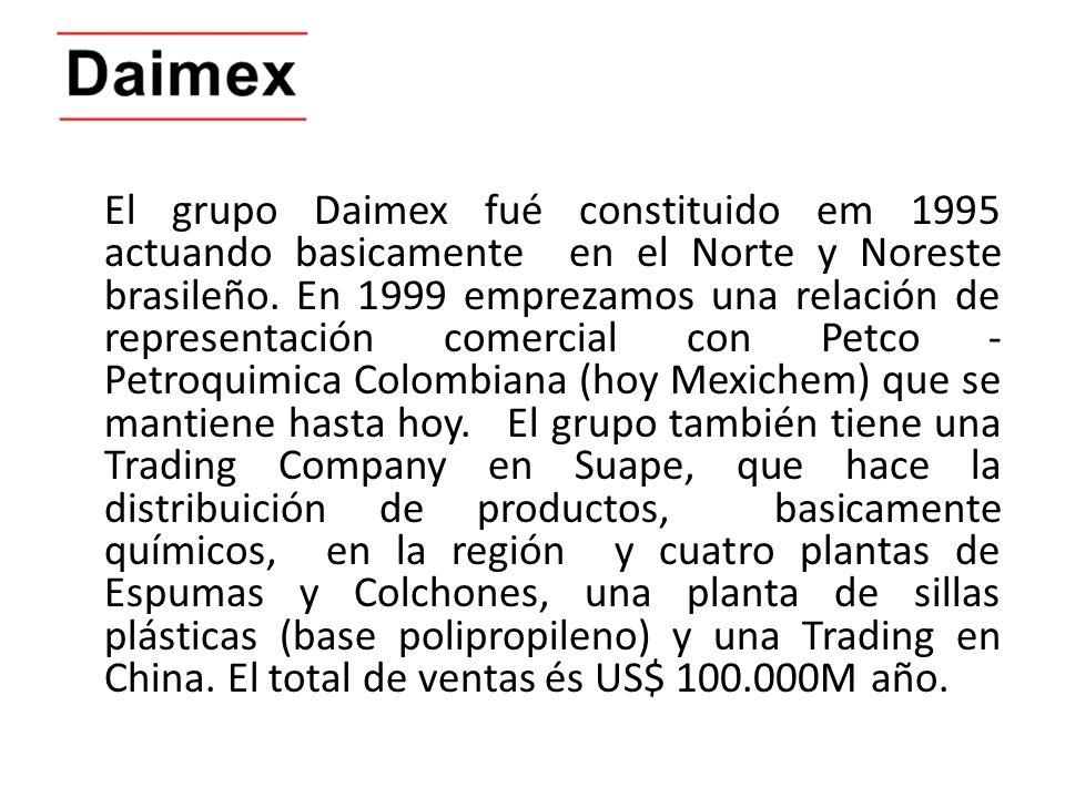 El grupo Daimex fué constituido em 1995 actuando basicamente en el Norte y Noreste brasileño. En 1999 emprezamos una relación de representación comerc