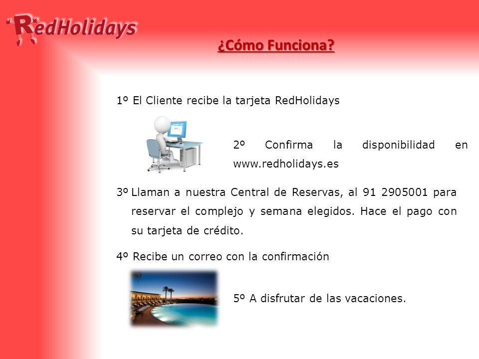 ¿Cómo Funciona? 1º El Cliente recibe la tarjeta RedHolidays 2º Confirma la disponibilidad en www.redholidays.es Llaman a nuestra Central de Reservas,