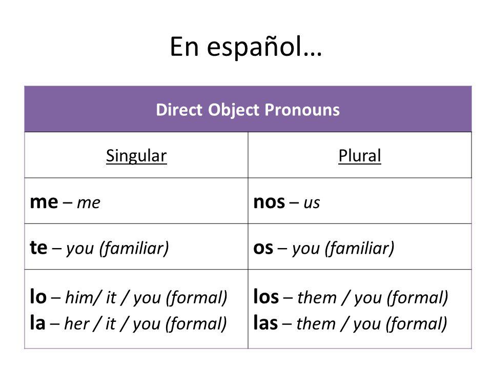 En español… Direct Object Pronouns SingularPlural me – me nos – us te – you (familiar) os – you (familiar) lo – him/ it / you (formal) la – her / it / you (formal) los – them / you (formal) las – them / you (formal)