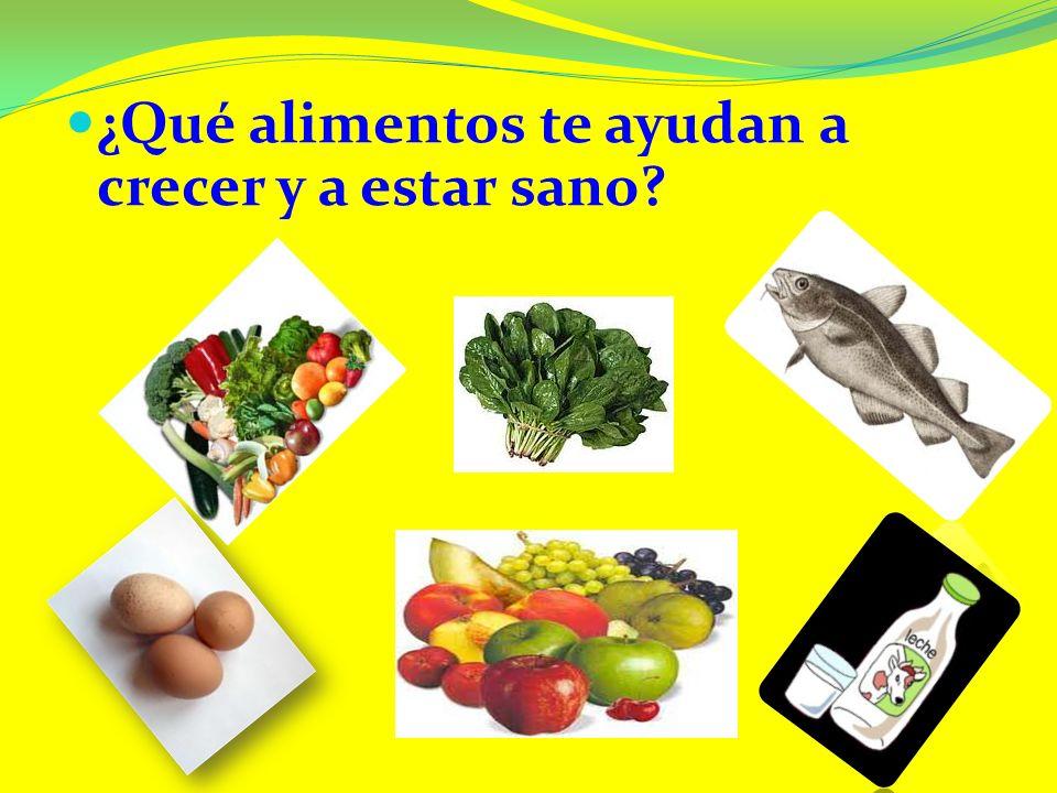 ¿Qué alimentos te ayudan a crecer y a estar sano?