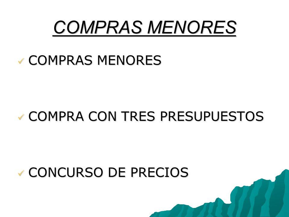 COMPRAS MENORES COMPRAS MENORES COMPRAS MENORES COMPRA CON TRES PRESUPUESTOS COMPRA CON TRES PRESUPUESTOS CONCURSO DE PRECIOS CONCURSO DE PRECIOS