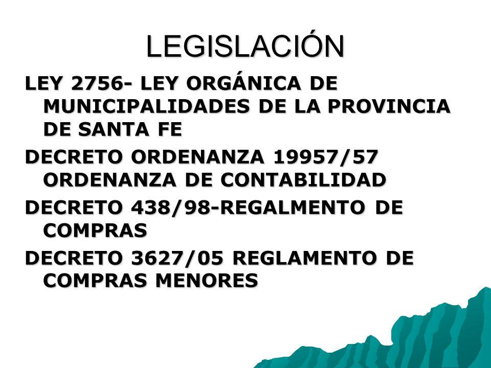 LEGISLACIÓN LEY 2756- LEY ORGÁNICA DE MUNICIPALIDADES DE LA PROVINCIA DE SANTA FE DECRETO ORDENANZA 19957/57 ORDENANZA DE CONTABILIDAD DECRETO 438/98-REGALMENTO DE COMPRAS DECRETO 3627/05 REGLAMENTO DE COMPRAS MENORES