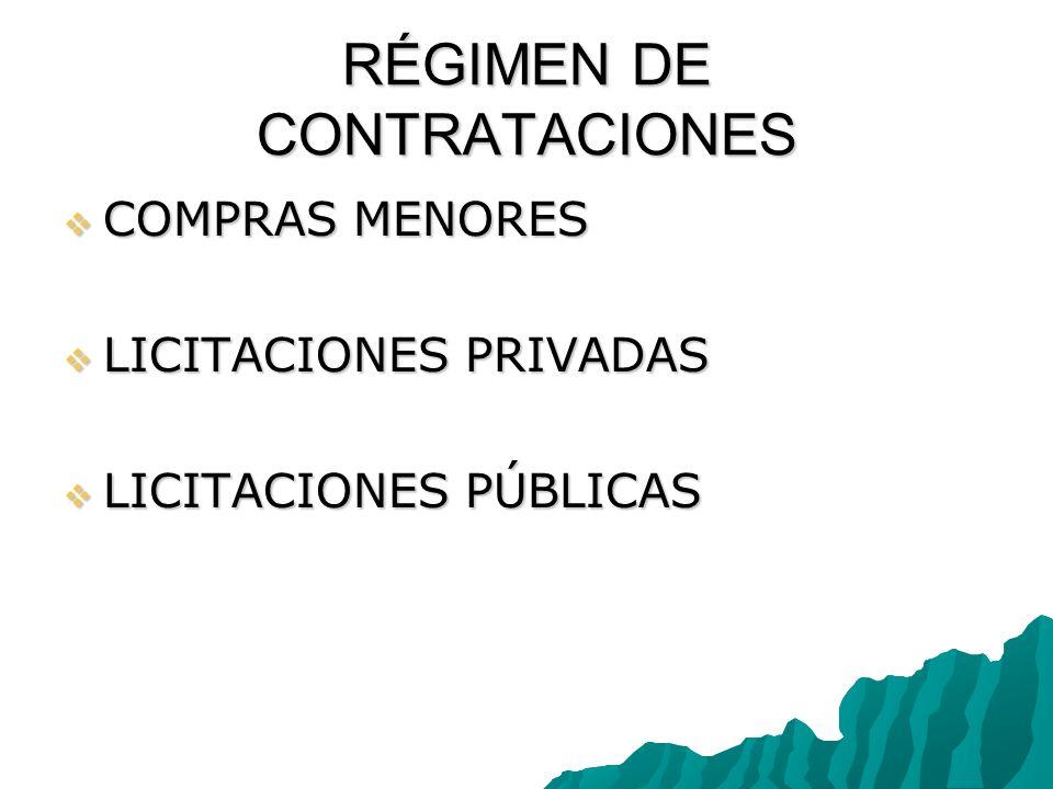 RÉGIMEN DE CONTRATACIONES COMPRAS MENORES COMPRAS MENORES LICITACIONES PRIVADAS LICITACIONES PRIVADAS LICITACIONES PÚBLICAS LICITACIONES PÚBLICAS