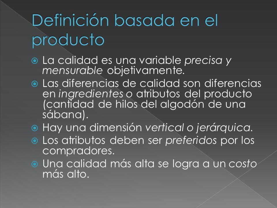 La calidad es una variable precisa y mensurable objetivamente. Las diferencias de calidad son diferencias en ingredientes o atributos del producto (ca