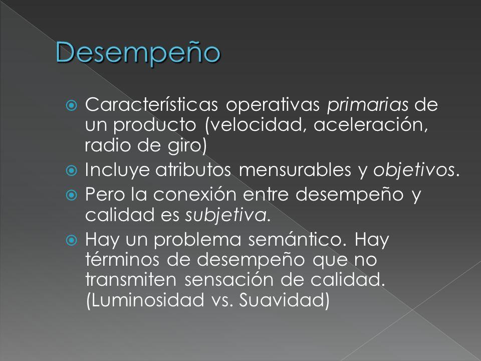 Características operativas primarias de un producto (velocidad, aceleración, radio de giro) Incluye atributos mensurables y objetivos. Pero la conexió
