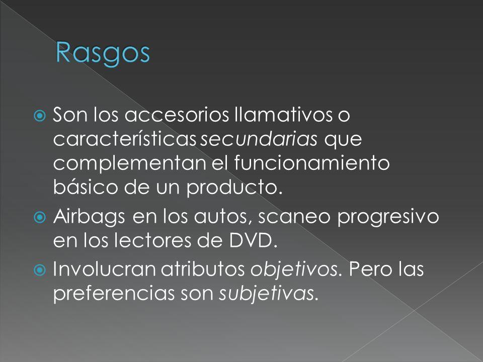 Son los accesorios llamativos o características secundarias que complementan el funcionamiento básico de un producto. Airbags en los autos, scaneo pro