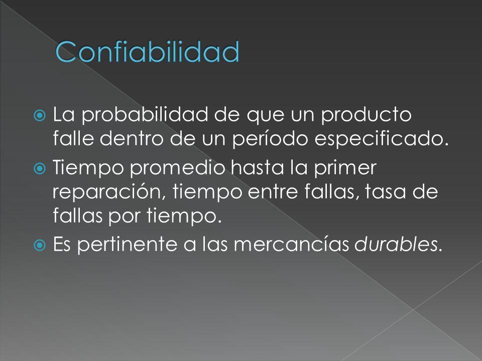 La probabilidad de que un producto falle dentro de un período especificado. Tiempo promedio hasta la primer reparación, tiempo entre fallas, tasa de f