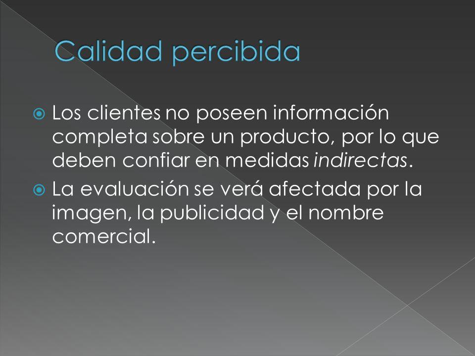 Los clientes no poseen información completa sobre un producto, por lo que deben confiar en medidas indirectas. La evaluación se verá afectada por la i