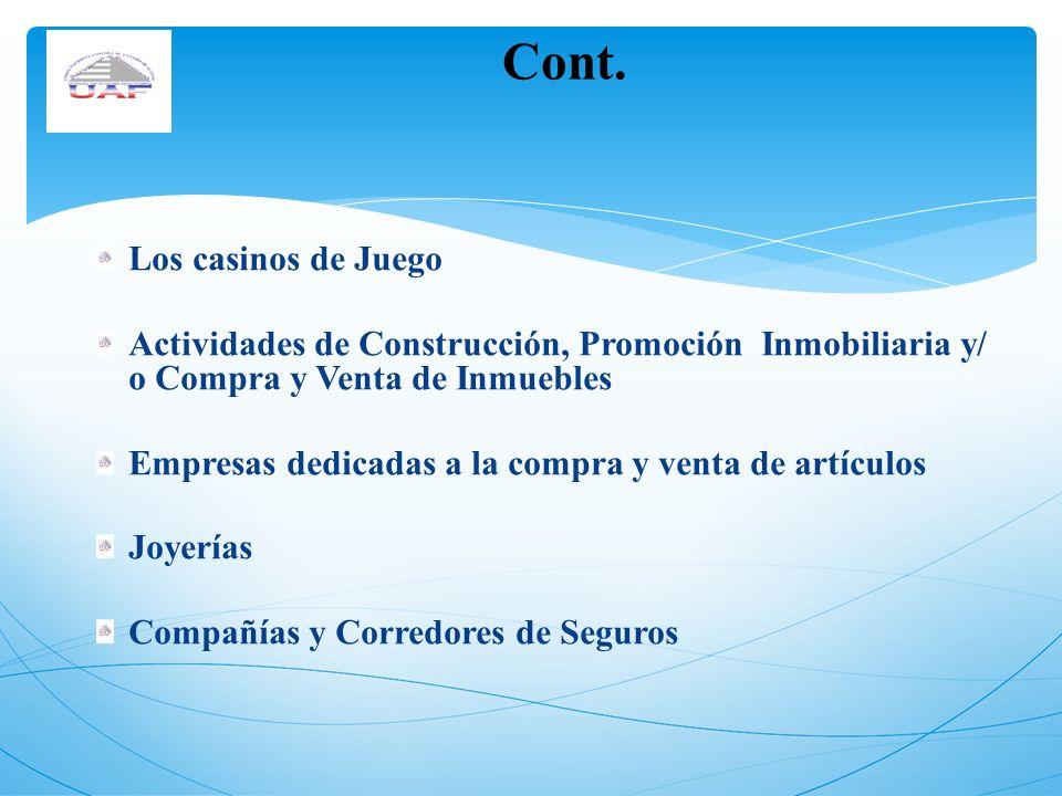Los casinos de Juego Actividades de Construcción, Promoción Inmobiliaria y/ o Compra y Venta de Inmuebles Empresas dedicadas a la compra y venta de ar