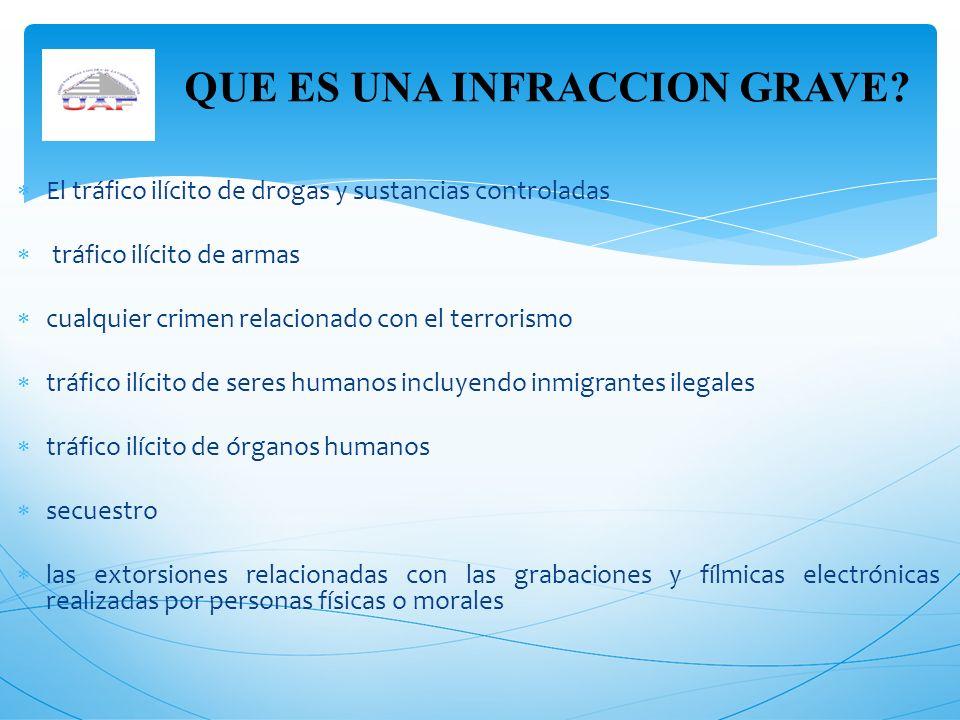 El tráfico ilícito de drogas y sustancias controladas tráfico ilícito de armas cualquier crimen relacionado con el terrorismo tráfico ilícito de seres