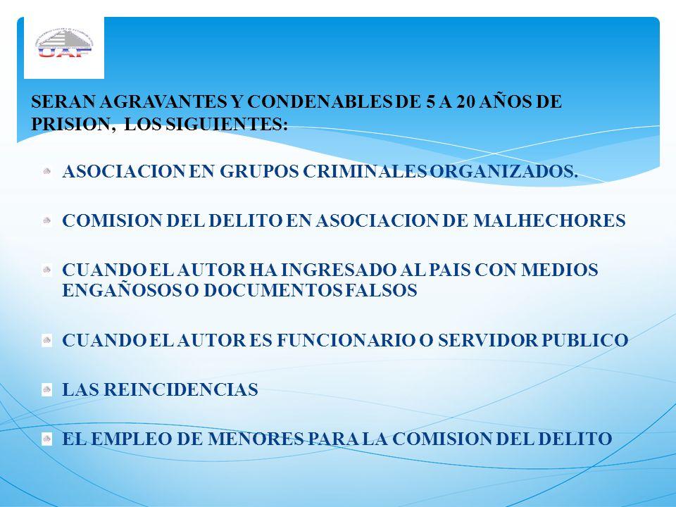 ASOCIACION EN GRUPOS CRIMINALES ORGANIZADOS. COMISION DEL DELITO EN ASOCIACION DE MALHECHORES CUANDO EL AUTOR HA INGRESADO AL PAIS CON MEDIOS ENGAÑOSO