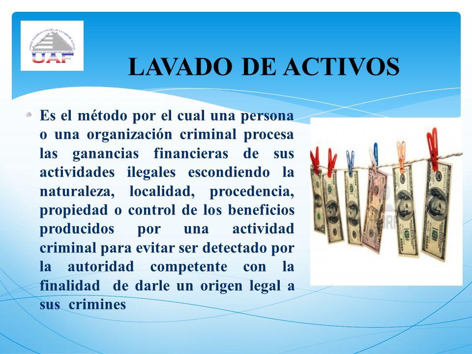 Es el método por el cual una persona o una organización criminal procesa las ganancias financieras de sus actividades ilegales escondiendo la naturale