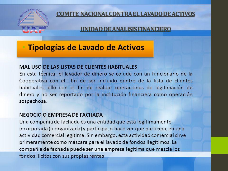 COMITE NACIONAL CONTRA EL LAVADO DE ACTIVOS UNIDAD DE ANALISIS FINANCIERO Tipologías de Lavado de Activos MAL USO DE LAS LISTAS DE CLIENTES HABITUALES