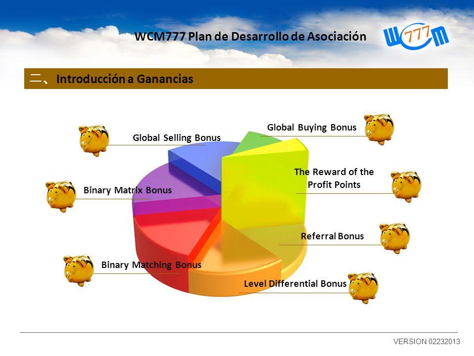 Introducción a Ganancias VERSION 02232013 WCM777 Plan de Desarrollo de Asociación Referral Bonus Binary Matching Bonus Binary Matrix Bonus Global Sell