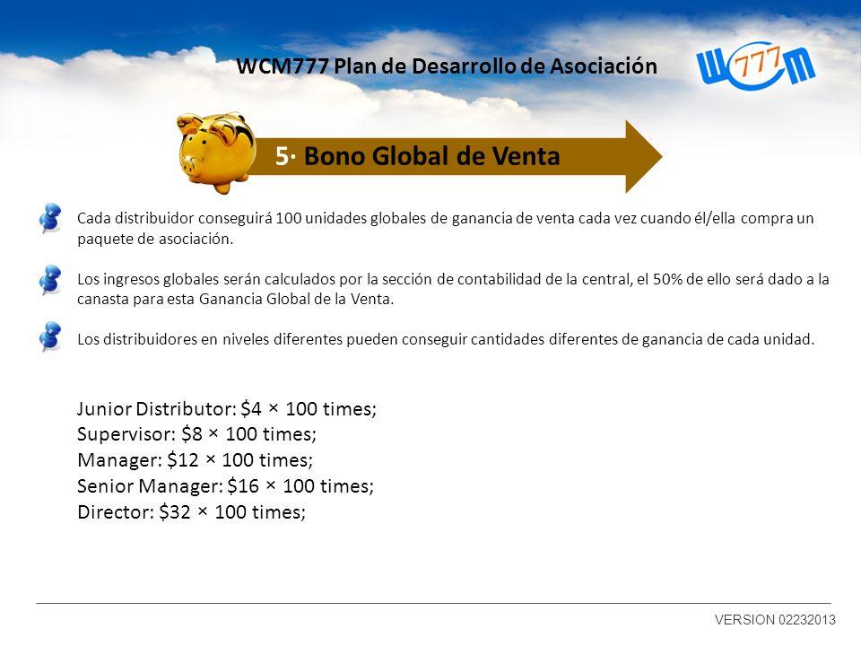 Cada distribuidor conseguirá 100 unidades globales de ganancia de venta cada vez cuando él/ella compra un paquete de asociación.