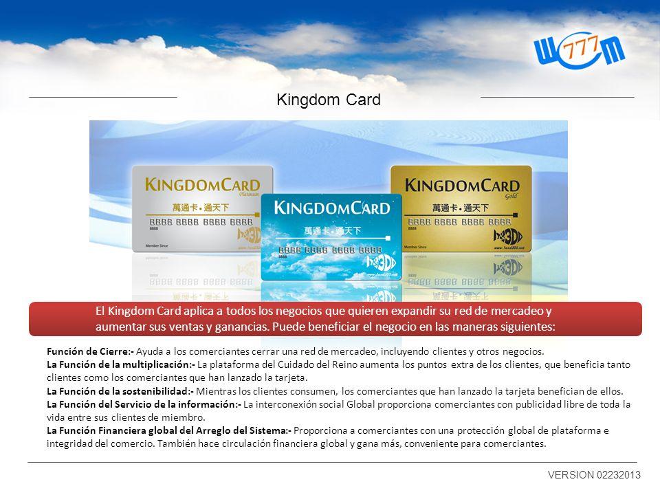 Kingdom Card El Kingdom Card aplica a todos los negocios que quieren expandir su red de mercadeo y aumentar sus ventas y ganancias.