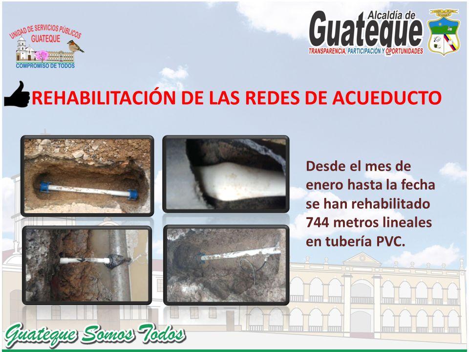 REHABILITACIÓN DE LAS REDES DE ACUEDUCTO Desde el mes de enero hasta la fecha se han rehabilitado 744 metros lineales en tubería PVC.