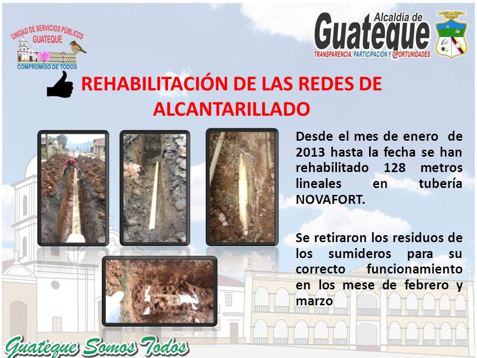 REHABILITACIÓN DE LAS REDES DE ALCANTARILLADO Desde el mes de enero de 2013 hasta la fecha se han rehabilitado 128 metros lineales en tubería NOVAFORT