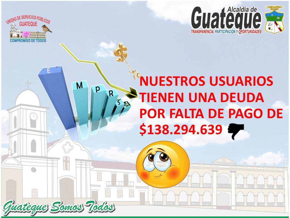 NUESTROS USUARIOS TIENEN UNA DEUDA POR FALTA DE PAGO DE $138.294.639