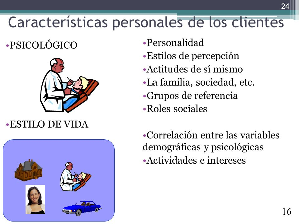 Características personales de los clientes PSICOLÓGICO ESTILO DE VIDA Personalidad Estilos de percepción Actitudes de sí mismo La familia, sociedad, e