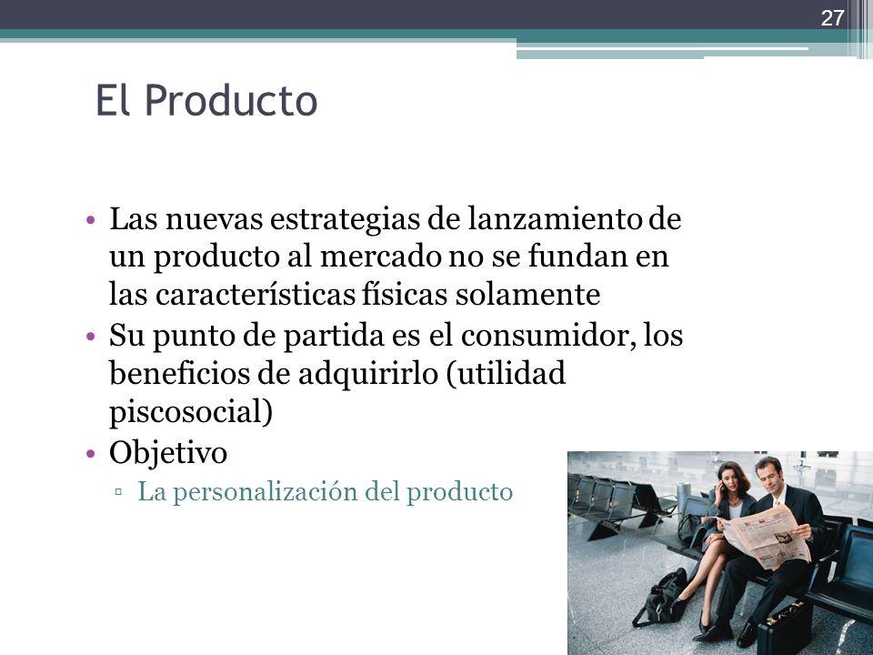 El Producto Las nuevas estrategias de lanzamiento de un producto al mercado no se fundan en las características físicas solamente Su punto de partida